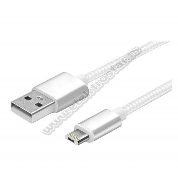 USB KABL 2.0-MicroB/Lightning BELI PLETENI