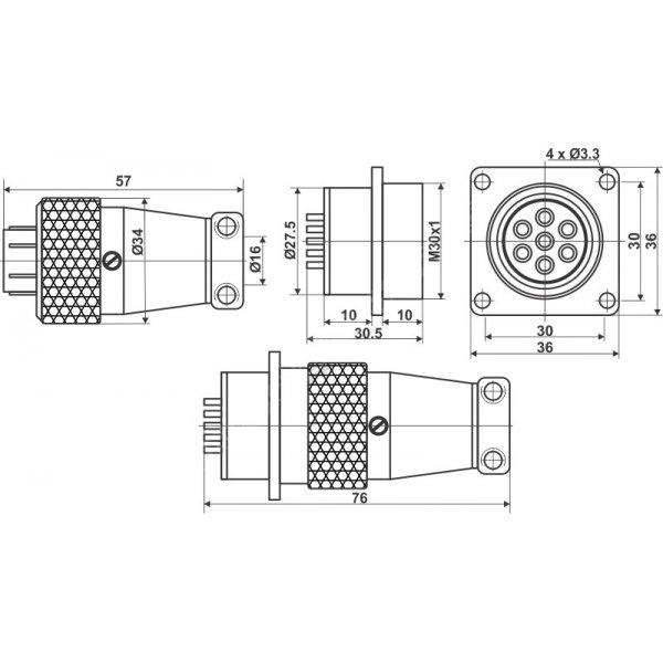 KONEKTOR 16 PINSKI TP28-F-16E