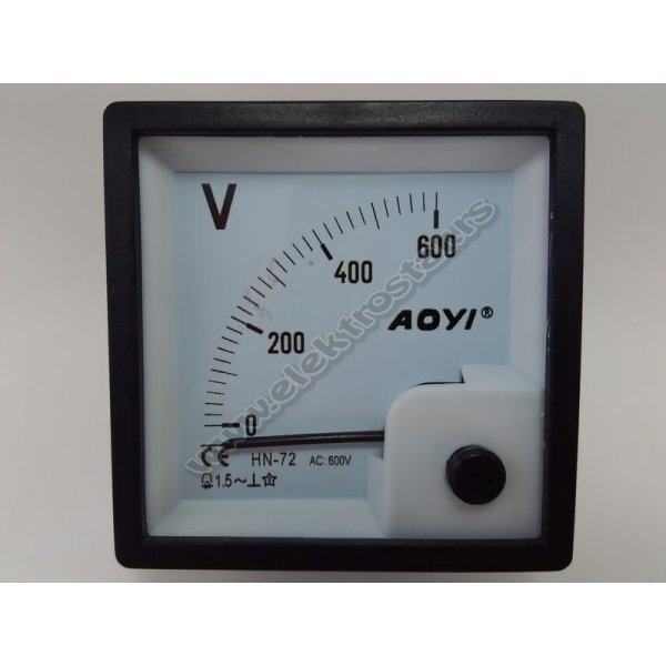 VOLTMETAR 0-600V AC 72X72