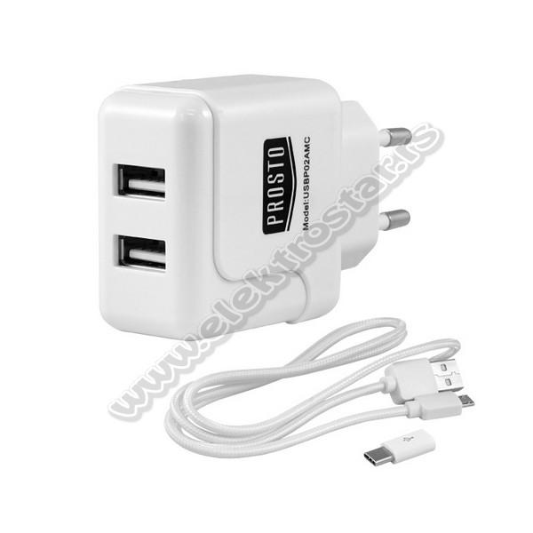 UNIVERZALNI PUNJAČ 2xUSB 2,1A + USB KABL typeC PR...