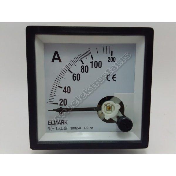 ANALOGNI AMPERMETAR 0-100A AC 100/5 72x72