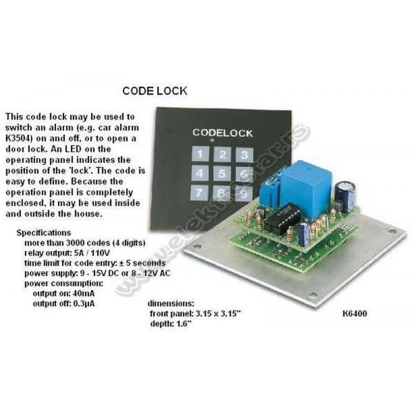 CODE LOCK K6400