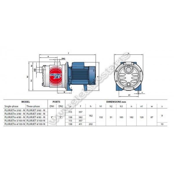 PUMPA ZA VODU PLURIJETm 3/100-N 0,55KW 230V