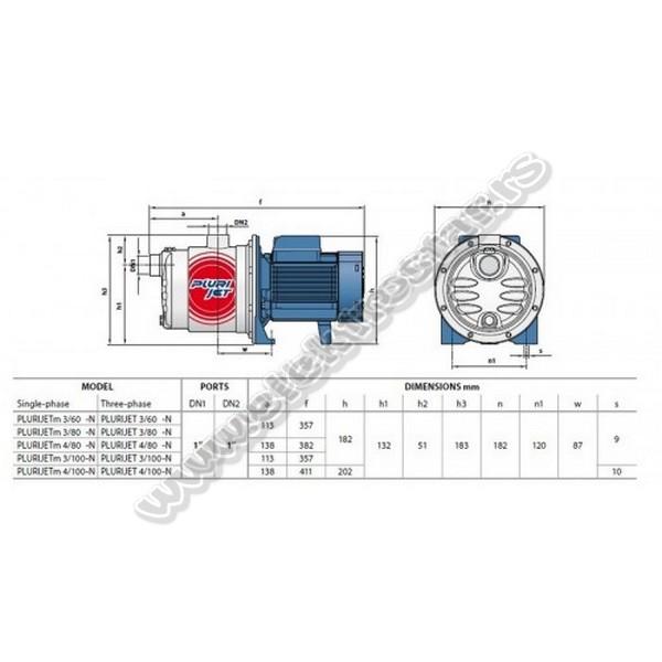 PUMPA ZA VODU PLURIJETm 3/80-N 0,48KW 230V