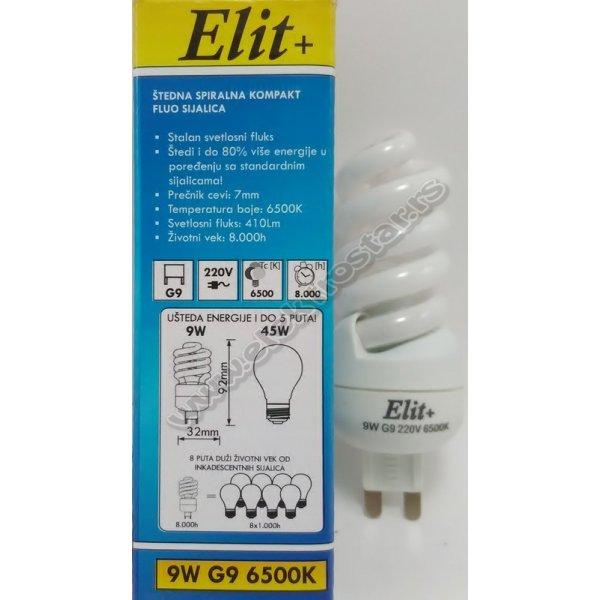 ELF1381 9W/2700K G9 220V SPIRAL